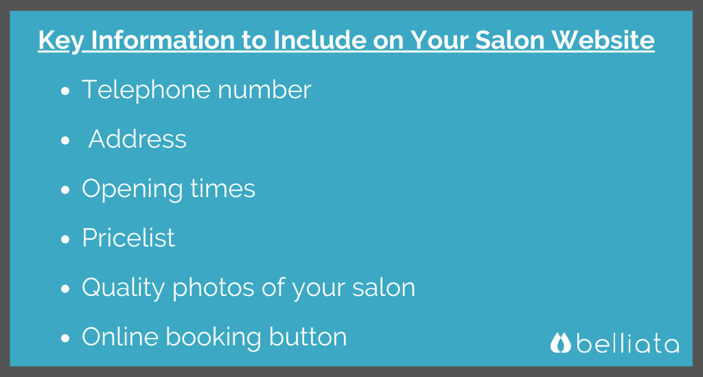 Key Information to Include on a Salon Website